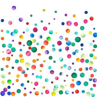 白い背景の上の水彩紙吹雪。見事な虹色のドット。幸せなお祝いの正方形のカラフルな明るいカード。優れた手描きの紙吹雪。
