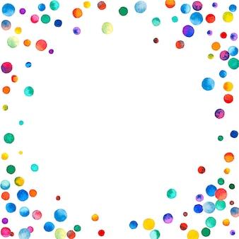 Акварельное конфетти на белом фоне. замечательные точки цвета радуги. счастливый праздник квадратная красочная яркая карта. причудливая ручная роспись конфетти.
