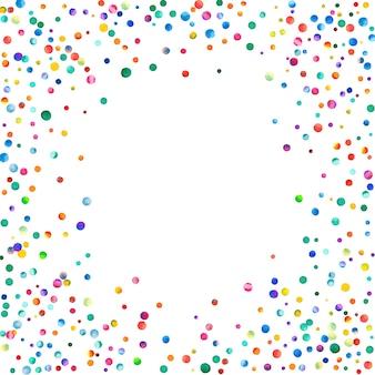 Акварельное конфетти на белом фоне. очаровательные точки цвета радуги. счастливый праздник квадратная красочная яркая карта. гламурное конфетти ручной росписи.