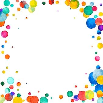 Акварельное конфетти на белом фоне. очаровательные точки цвета радуги. счастливый праздник квадратная красочная яркая карта. оптимальное конфетти с ручной росписью.