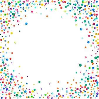 白い背景の上の水彩紙吹雪。愛らしい虹色のドット。幸せなお祝いの正方形のカラフルな明るいカード。優れた手描きの紙吹雪。