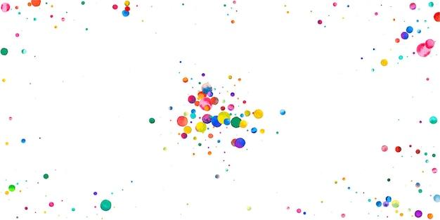 Акварельное конфетти на белом фоне. очаровательные точки цвета радуги. счастливый праздник широкая красочная яркая карта. очаровательное конфетти, расписанное вручную.