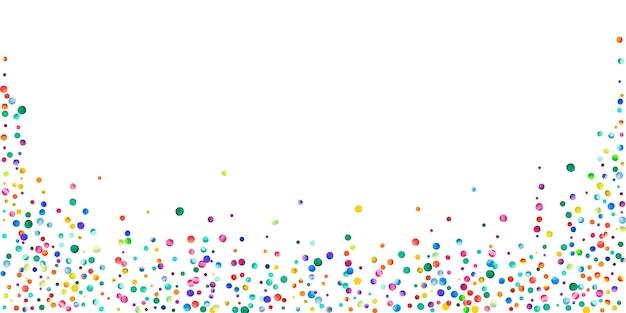 Акварельное конфетти на белом фоне. очаровательные точки цвета радуги. счастливый праздник широкая красочная яркая карта. великолепное конфетти, расписанное вручную.