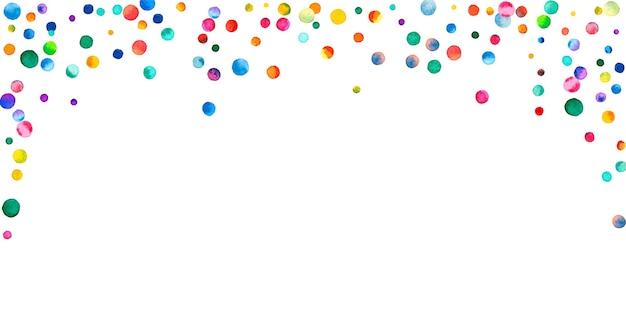 白い背景の上の水彩紙吹雪。愛らしい虹色のドット。幸せなお祝いワイドカラフルな明るいカード。メスメリックな手描きの紙吹雪。
