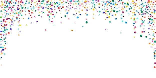 白い背景の上の水彩紙吹雪。愛らしい虹色のドット。幸せなお祝いワイドカラフルな明るいカード。きちんとした手描きの紙吹雪。