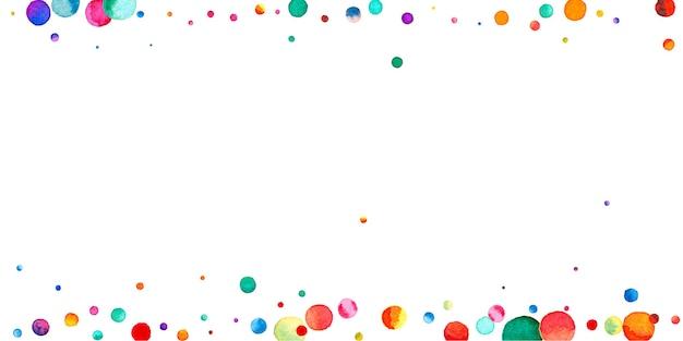 흰색 바탕에 수채화 색종이입니다. 사랑스러운 무지개 색깔의 점들. 행복 한 축 하 넓은 다채로운 밝은 카드. 매끈한 손으로 그린 색종이 조각.