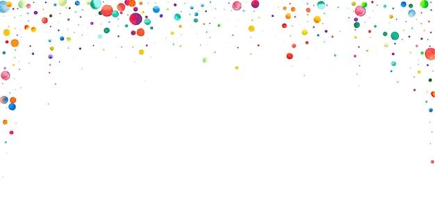 Акварельное конфетти на белом фоне. очаровательные точки цвета радуги. счастливый праздник широкая красочная яркая карта. потрясающее конфетти, расписанное вручную.