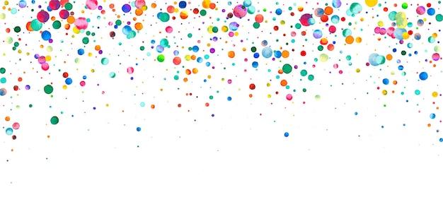 Акварельное конфетти на белом фоне. очаровательные точки цвета радуги. счастливый праздник широкая красочная яркая карта. непревзойденное конфетти, расписанное вручную.