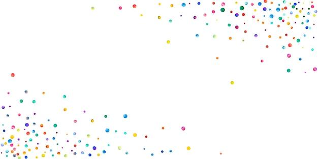 Акварельное конфетти на белом фоне. очаровательные точки цвета радуги. счастливый праздник широкая красочная яркая карта. замечательное конфетти, расписанное вручную.