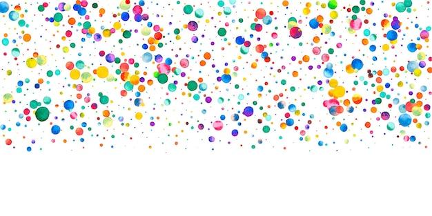 흰색 바탕에 수채화 색종이입니다. 살아있는 무지개 색깔의 점들. 행복 한 축 하 넓은 다채로운 밝은 카드. 눈부신 손으로 그린 색종이 조각.