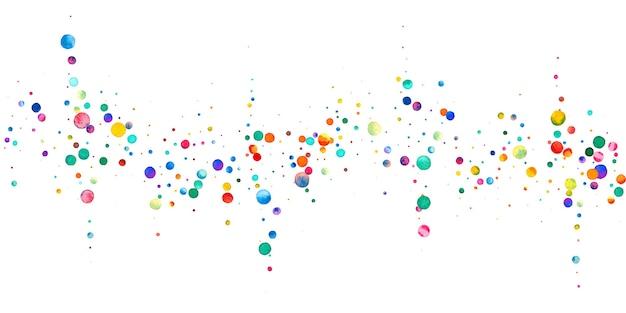 Акварельное конфетти на белом фоне. живые точки цвета радуги. счастливый праздник широкая красочная яркая карта. необычное конфетти, расписанное вручную.