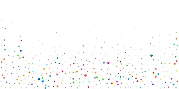 白い背景の上の水彩紙吹雪。魅惑的な虹色のドット。幸せなお祝いワイドカラフルな明るいカード。息をのむような手描きの紙吹雪。