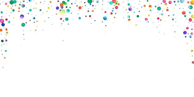 白い背景の上の水彩紙吹雪。魅惑的な虹色のドット。幸せなお祝いワイドカラフルな明るいカード。劇的な手描きの紙吹雪。