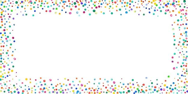 白い背景の上の水彩紙吹雪。魅惑的な虹色のドット。幸せなお祝いワイドカラフルな明るいカード。かっこいい手描きの紙吹雪。