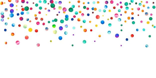 白い背景の上の水彩紙吹雪。魅惑的な虹色のドット。幸せなお祝いワイドカラフルな明るいカード。磁気手描きの紙吹雪。