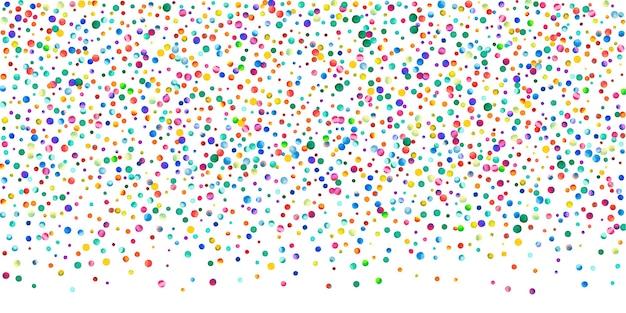 白い背景の上の水彩紙吹雪。魅惑的な虹色のドット。幸せなお祝いワイドカラフルな明るいカード。優れた手描きの紙吹雪。