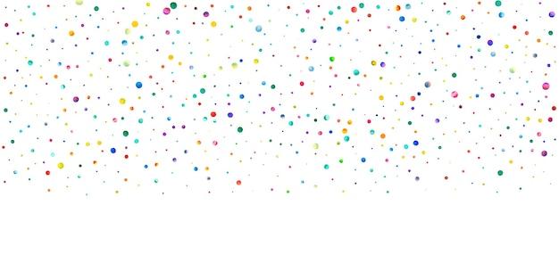 Акварельное конфетти на белом фоне. очаровательные точки цвета радуги. счастливый праздник широкая красочная яркая карта. драгоценное конфетти, расписанное вручную.