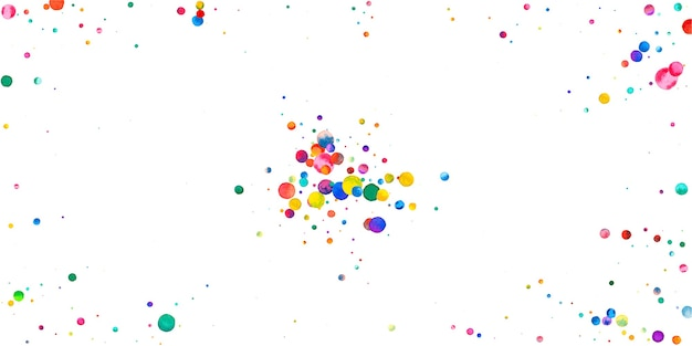 Watercolor confetti on white background. adorable rainbow colored dots. happy celebration wide colorful bright card. captivating hand painted confetti.