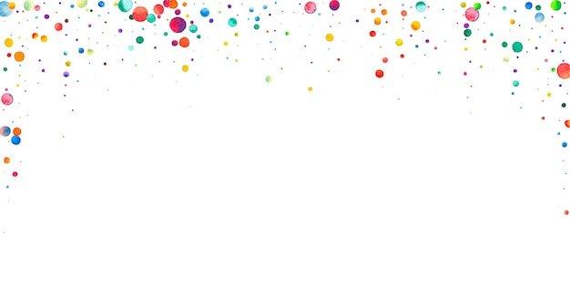 Watercolor confetti on white background. adorable rainbow colored dots. happy celebration wide colorful bright card. stunning hand painted confetti.