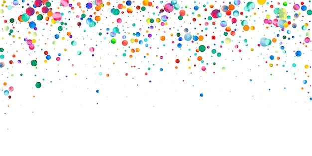 Watercolor confetti on white background. adorable rainbow colored dots. happy celebration wide colorful bright card. unequaled hand painted confetti.