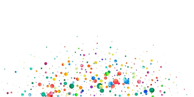 Watercolor confetti on white background. alive rainbow colored dots. happy celebration wide colorful bright card. dramatic hand painted confetti.