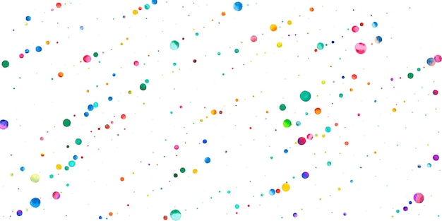 Watercolor confetti on white background. alive rainbow colored dots. happy celebration wide colorful bright card. mesmeric hand painted confetti.