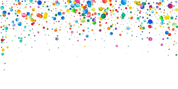 Watercolor confetti on white background. alluring rainbow colored dots. happy celebration wide colorful bright card. exquisite hand painted confetti.