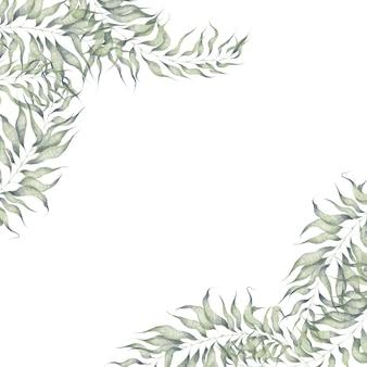 白い背景で隔離のイラスト植物要素と水彩コーナーフレーム枝の葉