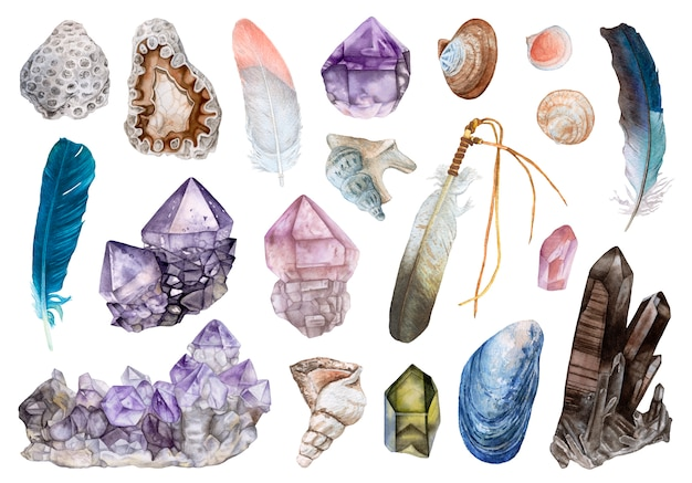 Watercolor crystals, seashells, feathers isolated.