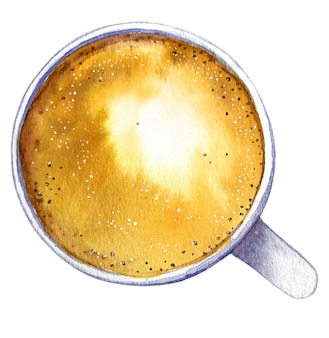 Watercolor cup of coffee cappuccino, top view.