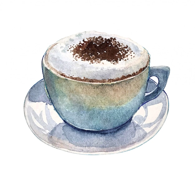 Watercolor cup of coffee cappuccino with whipped cream on it