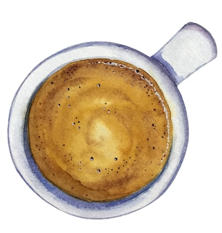 Watercolor cup of coffee espresso, top view.
