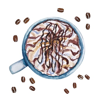 Watercolor cup of coffee mocha, top view.