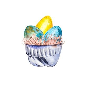 鳥の卵と水彩カップ。手描き水彩イラスト。イースターコレクション。