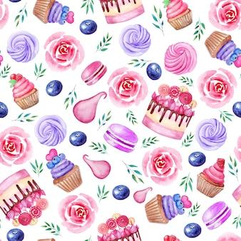 Акварельные кексы и пирожные с миндальным печеньем Premium Фотографии
