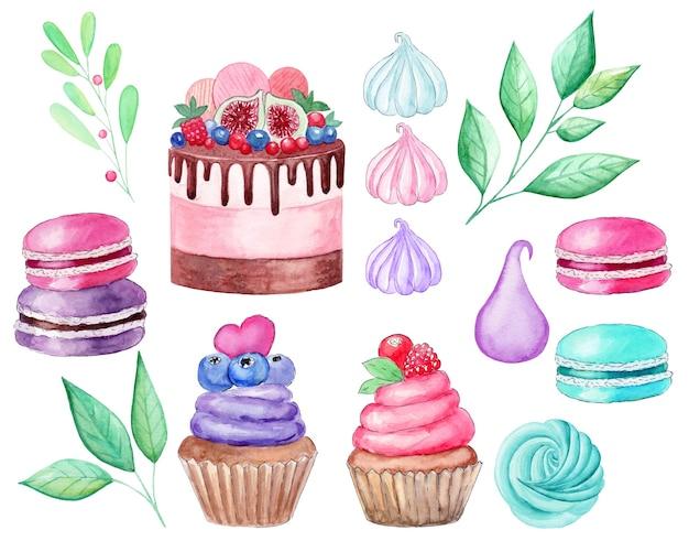 Акварельные кексы и пирожные с миндальным печеньем