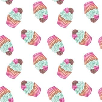 水彩カップケーキシームレスパターン、背景を繰り返すピンクのお菓子、キャンディーパターンデザイン