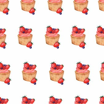Watercolor cupcakes  seamless pattern