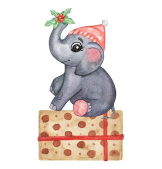 Watercolor cute animals illustration - little elephant, hand drawn set isolated, winer baby decor
