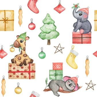 クリスマスの帽子の背景、クリスマスの赤ちゃんの壁紙、シームレスなパターンの水彩かわいい動物