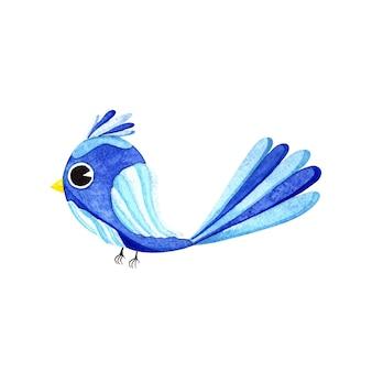 Акварель милая синяя птица в мультяшном стиле, изолированные на белом фоне
