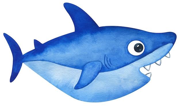 水彩画のかわいいヨシキリザメ。口を開けて手描きの青い小さなサメ。