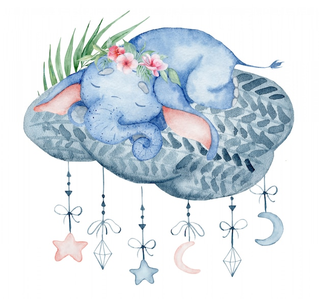 Watercolor cute elephant sleeping on the cloud animal hand drawn illustration