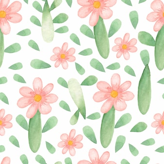 Watercolor cute flower pattern