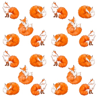 Watercolor cute foxes seamless pattern