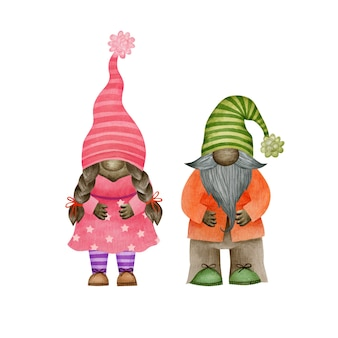Watercolor cute gnomes with brown skin isolated on white background