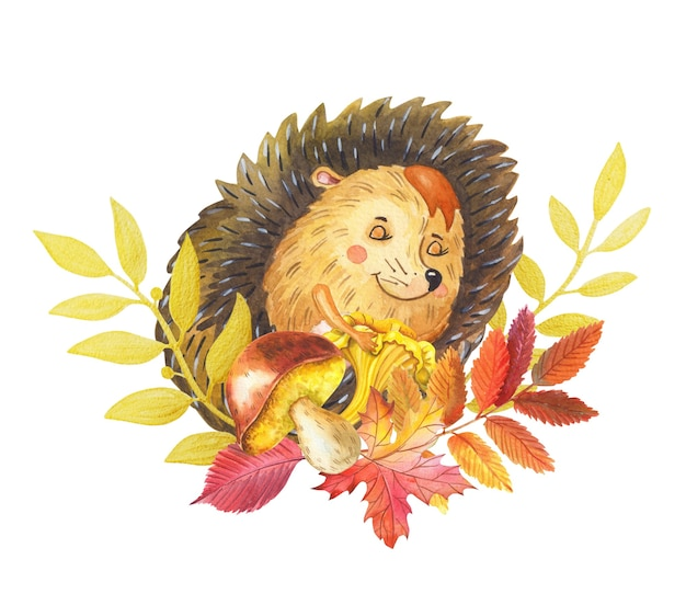 Watercolor cute hedgehog and floral wreath of yellow flowers autumn leaves and golden twigs