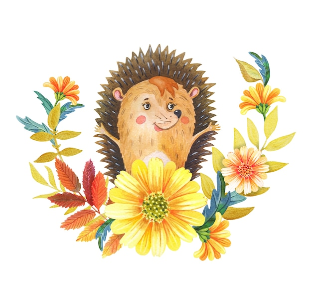 Watercolor cute hedgehog yellow flowers  leaves autumn illustration