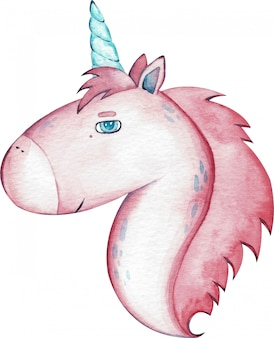 Watercolor cute pink unicorn isolated on white background.