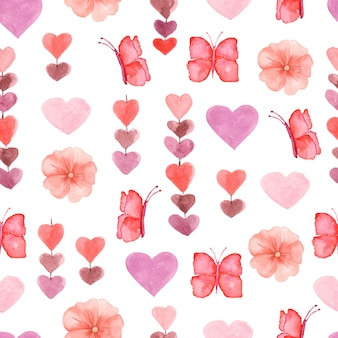 Watercolor cute seamless pattern with flowers, heart and butterfly